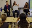 Mari and Alice speakng to Rashi students